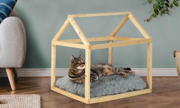 Lit cabane pour chat avec coussin gris