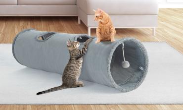 Tunnel pour chat 130 x 30 cm gris