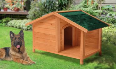 Niche bois terrasse pour chien XL/XXL